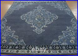 8' x 10' Pottery Barn Bryson Navy Rug New Hand Tufted Wool Carpet
