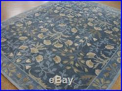 9' x 12' Pottery Barn Adeline Rug Blue New Hand Tufted Wool Carpet