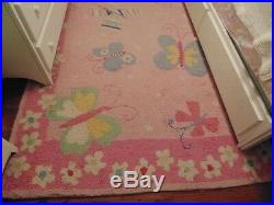 Extremely Rare Pottery Barn Kids Sophie Butterfly 5x8 Wool Rug