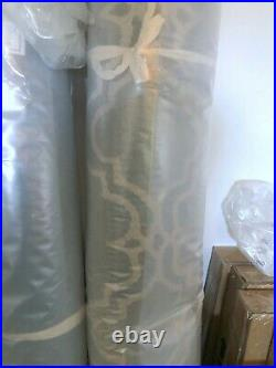 New Pottery Barn Scroll Tile Hand Tufted Wool Rug Porcelain Blue 5'x8' Moroccan
