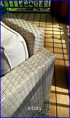 Outdoor patio set Crate & Barrel sectional + Pottery Barn table + Frontgate rug