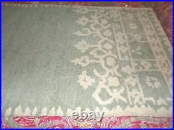 POTTERY BARN DESA BORDERED WOOL RUG, 5 X 8', BLUE, NEW, antique style