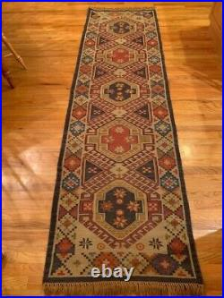 POTTERY BARN Rug Runner, Discontinued Pattern, 31 1/8 x 9', Some Wear