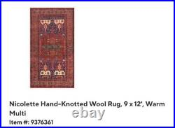 Pottery Barn $2000 hand knotted new multicolored 9x12 area rug beautiful colors