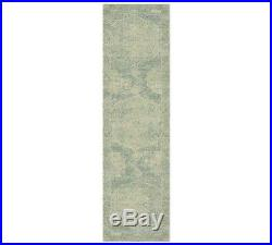 Pottery Barn Barret Printed Wool Rug Runner, 2.5 X 9', Porcelain Blue, New