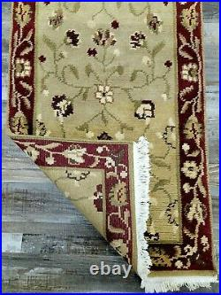 Pottery Barn Camilla Hand Knotted Beige Red Tibetan Wool Rug 2' 6'' x 9' Runner