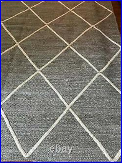 Pottery Barn Jute Lattice Rug Gray Ivory 5x8 New In Wrapping