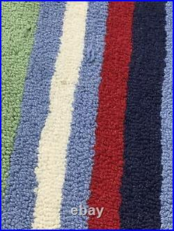 Pottery Barn Kids Circus Stripe Wool Rug Mint condition primary Colors 80 x 60