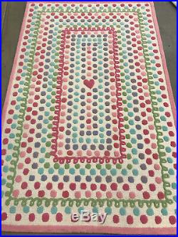Pottery Barn Kids Heart Dot Wool 5' x 8' Area Rug 100% Authentic With Tags