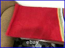 Pottery Barn Mat Rug Red With Multicolor Stripe Fringed 3' x 5' Ft 100% Cotton