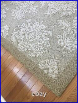 Pottery Barn Medallion Rug Beige Ivory 5x8 Damask Hand Woven Wool Authentic