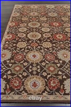 Pottery Barn Mona Oriental Handmade Wool Brown Floral Area Rug 10' x 14