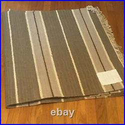 Pottery Barn Rug 31x110 (2.6x9) Handwoven Dhurrie 77% Wool, Brown/Cream