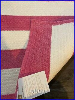 Pottery Barn Teen Capel Cottage Stripe Rug Pink And White Stripes 3x5 NEW