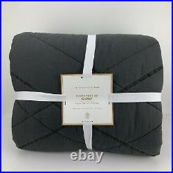 Pottery Barn Teen Ryder Rugged Quilt Full Queen Faded Black Cotton Brand New