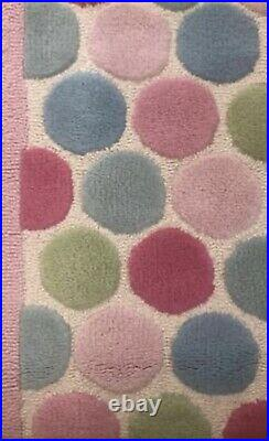 RARE Pottery Barn Kids 5x7 100% Wool Giant Dots Rug Exccellent Condition